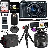 Canon EOS M6 Camera (Black) EF-M 15-45mm f/3.5-6.3 IS STM Lens Kit, Sandisk Ultra SDXC 64GB Memory Card, Polaroid Filter Kit, DSLR Camera Bag, Ritz Gear Tripod and Accessory Bundle