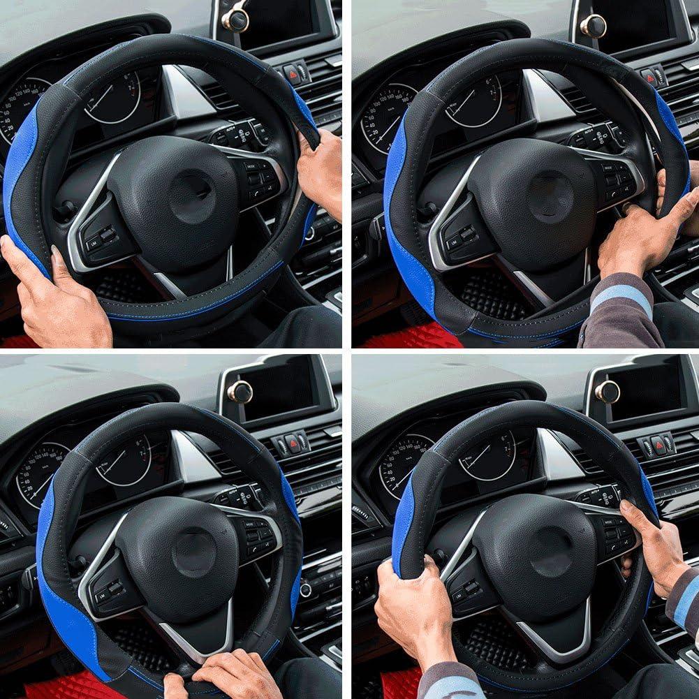 "38CM 15/"" Inch D Cut Carbon fiber stereoscopic Anti-skid Steering Wheel Cover"