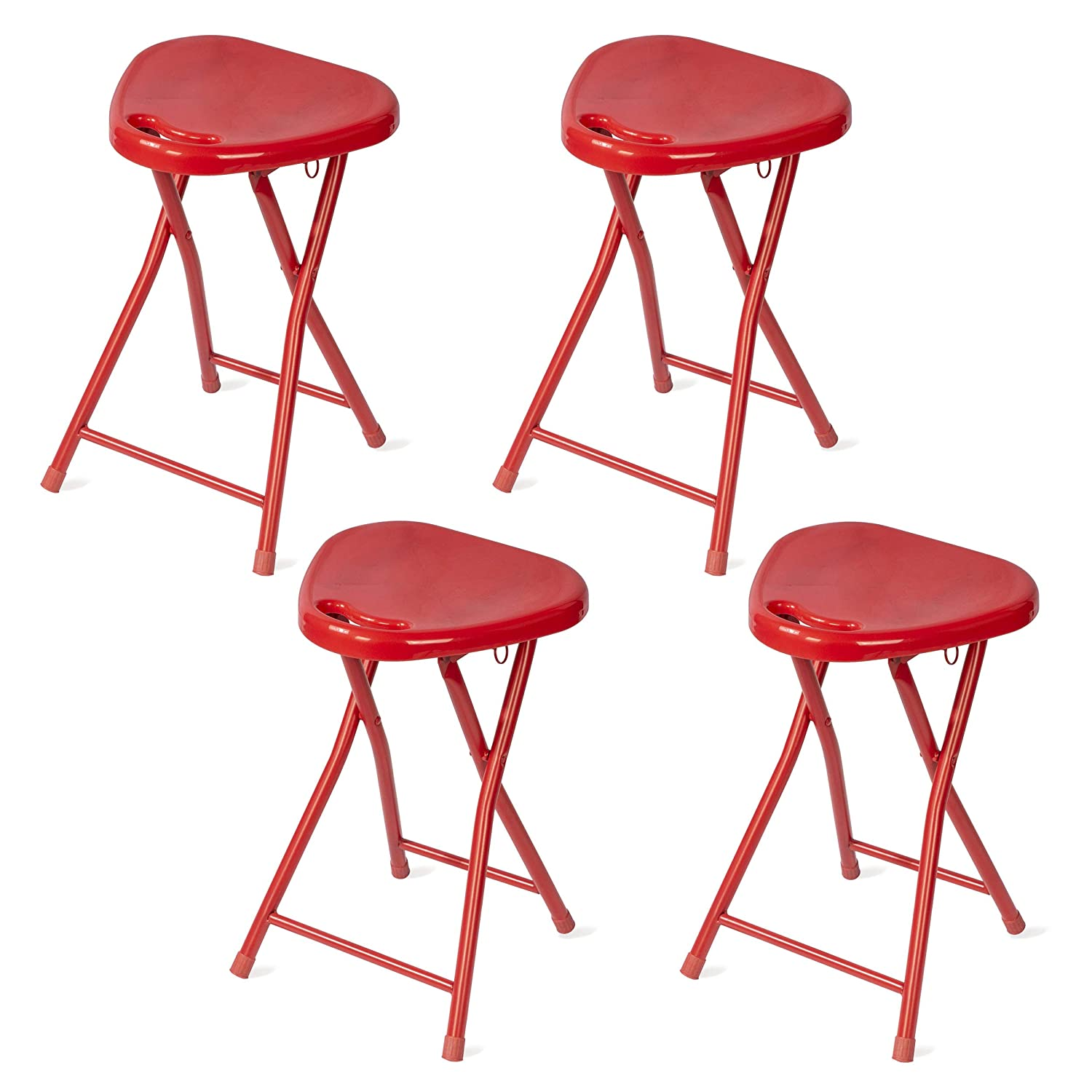 Awesome Dar Living Folding Stool With Handle Red 4 Pack Andrewgaddart Wooden Chair Designs For Living Room Andrewgaddartcom