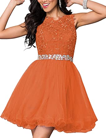 LL Bridal Womens A Line Beaded Short Prom Dresses 2018 Homecoming Evening Formal Gown Mini Orange