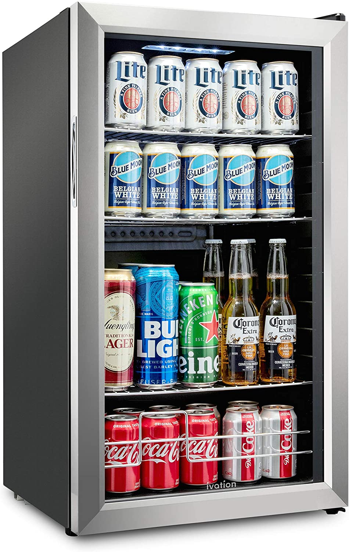 Ivation 126 Can Beverage Refrigerator | Freestanding Ultra Cool Mini Drink Fridge | Beer, Cocktails, Soda, Juice Cooler for Home & Office | Reversible Glass Door & Adjustable Shelving, Stainless Steel