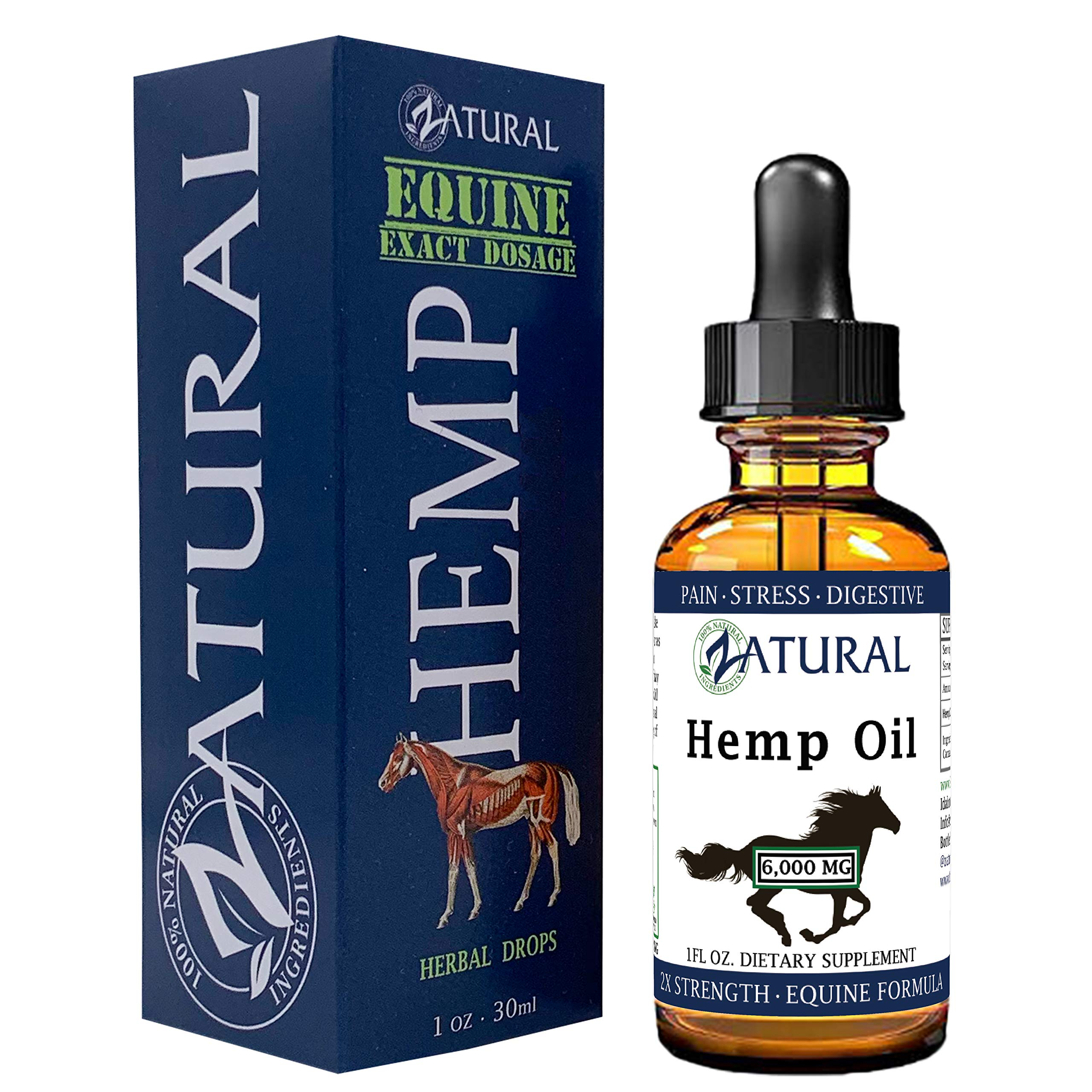 Zatural Equine Hemp Oil 6,000mg - Hemp Seed Oil for Horses - Advanced Equine Formula (6,000mg) by Zatural