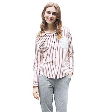 90d618f6e3 QianXiu Pijama de Rayas Mujer Ropa de Noche Bata de Noche Mujer Manga Larga  Mujer Camisones Cotton Sleepwear  Amazon.es  Ropa y accesorios