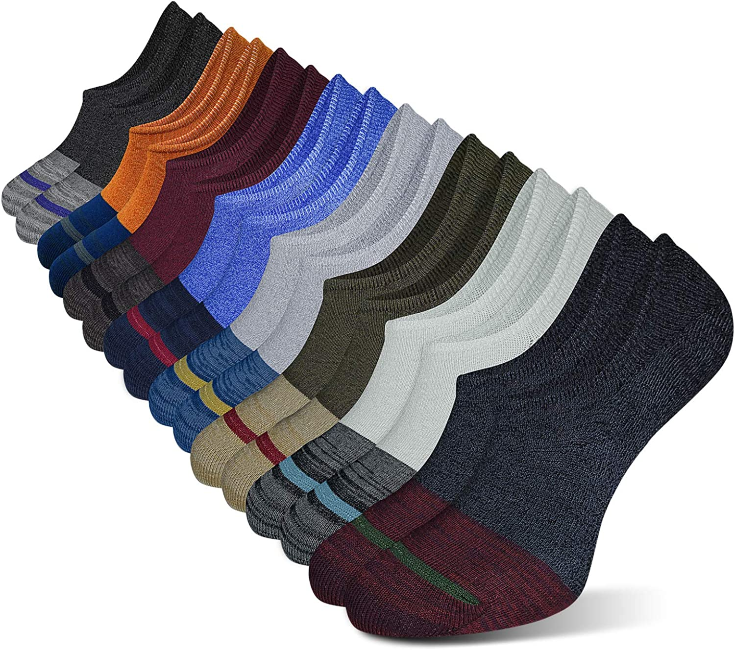 Hidden Mens Ankle Low Cut No Show Cotton Non Slip Socks Casual Dress Liner Lot