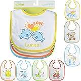 PEKITAS Pack 7 Baberos Para Bebe Impermeable Cierre Con Velcro Suave Algodón Tamaño 28 cm x 21 cm