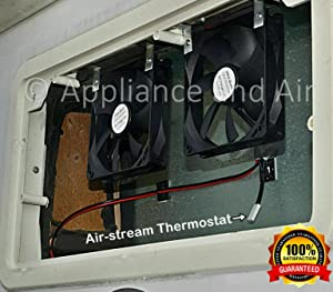 2 RV DOMETIC Norcold add on Cooling Fans + ON/Off Thermostat + Wiring + Hardware