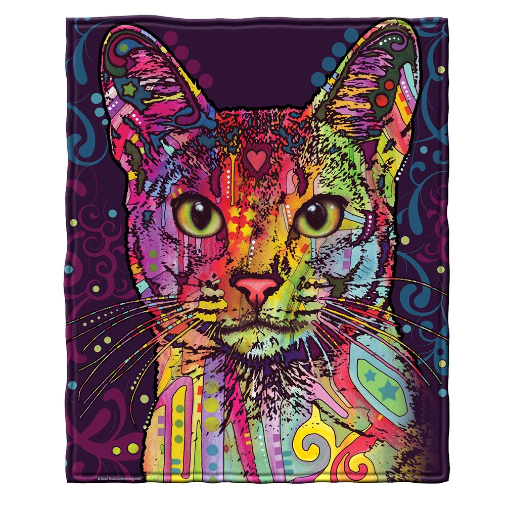 """CDM product Dawhud Direct Super Soft Full/Queen Size Fleece Blanket by Dean Russo, 75"""" x 90"""" (Confident Cat) small thumbnail image"""
