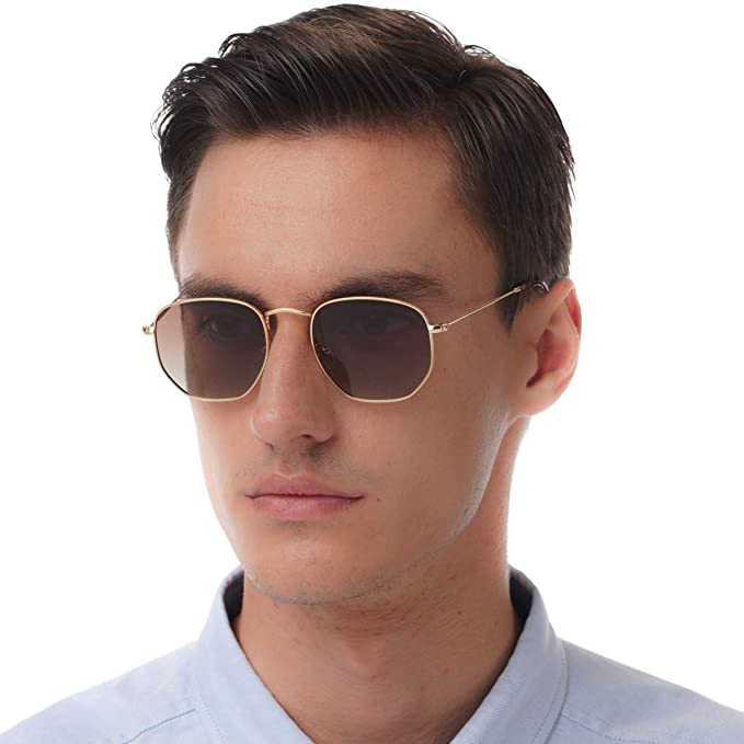 3fef643480 Hexagonal flat lenses Sunglasses (Brown)  Amazon.co.uk  Clothing