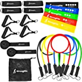 StrongFitt - Multi Family Pack - Enjoy Doing Exercise With A Buddy - Physical Therapy - Home Fitness - 21 Pieces - 5 Loop Bands, 5 Resistance Bands, 2-Pair Handles, 2-Pair Ankle Straps, 2-Door Anchor