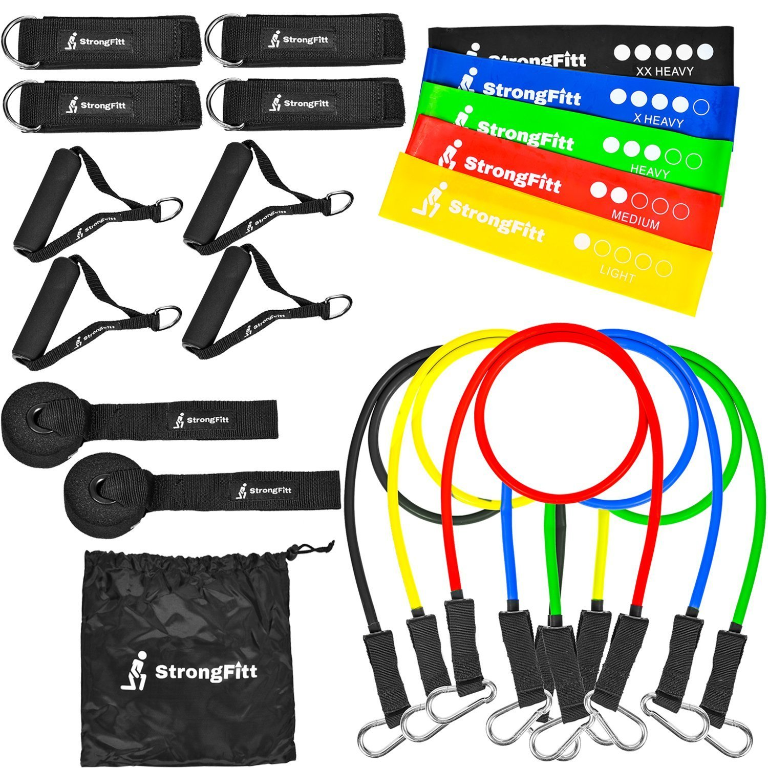 SrongFitt - Multi Family Pack - Enjoy Doing Exercise With A Buddy - Physical Therapy - Home Fitness - 21 Pieces - 5 Loop Bands, 5 Resistance Bands, 2-Pair Handles, 2-Pair Ankle Straps, 2-Door Anchor