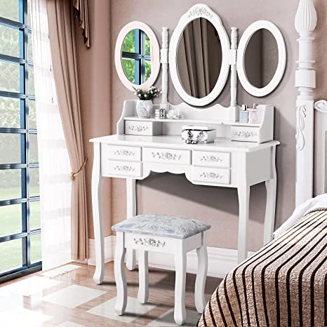 Mecor Makeup Vanity with 7 Drawers,Vanity Table Set w/Tri,fold Mirror Girls  Women Wood Dressing Table Cushioned Stool Bedroom Furniture White