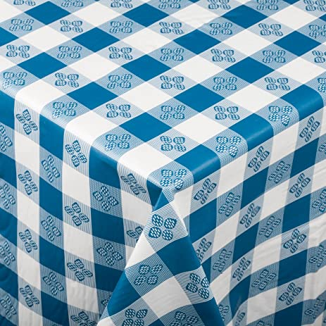 Square Blue Checkered Plastic Tablecloth With Cotton Lining, 52u0026quot; ...