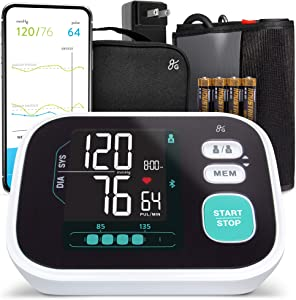 Greater Goods Smart Pro-Series Blood Pressure Monitor Bluetooth, Upper Arm Smart BPM with Large Backlit LCD, Premium Hardware