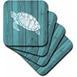 3dRose Turtle Stencil In White Over Teal Weatherboard- Not Real Wood - Soft Coasters, Set of 4 (cst_220428_1)