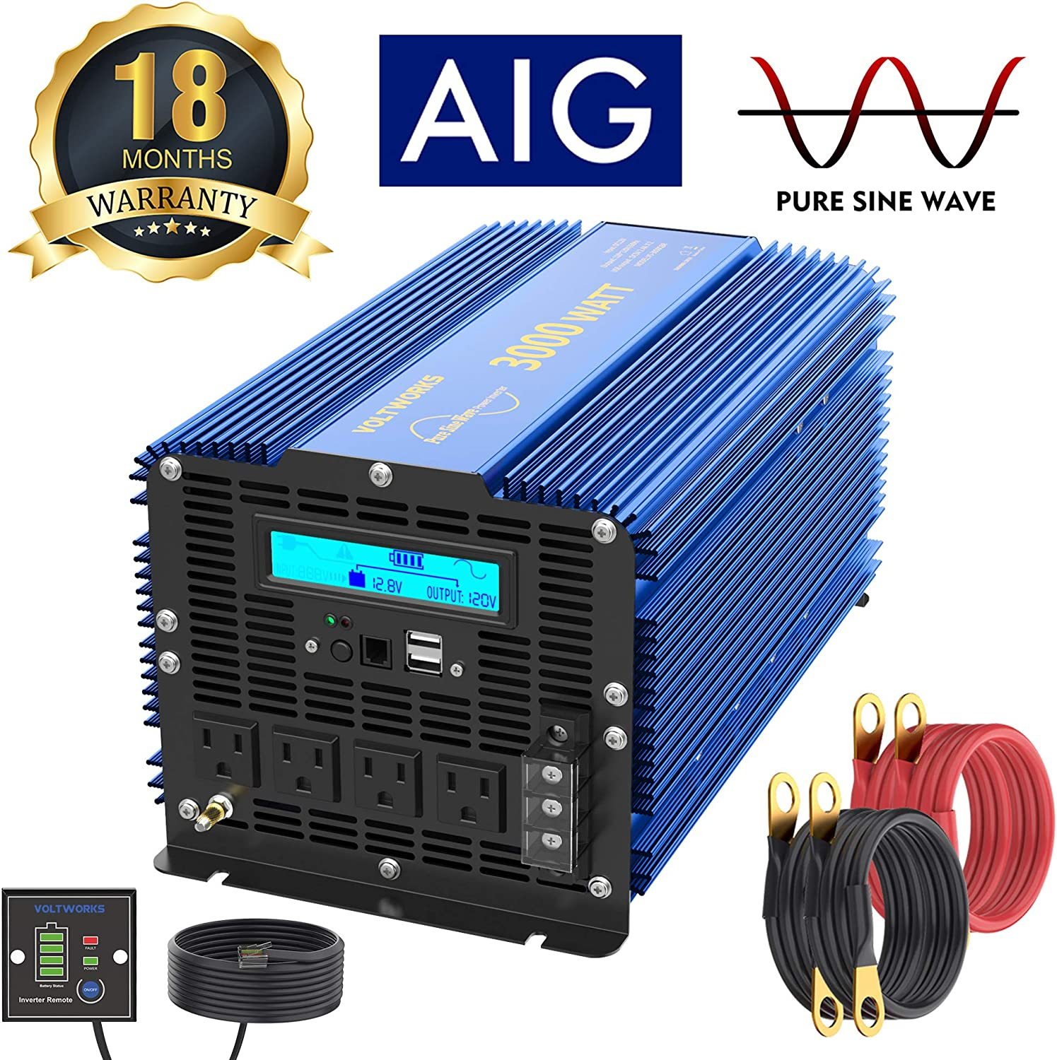 3000Watt Pure Sine Wave Power Inverter 12V DC to 120V AC with 4 AC Outlets Dual 2.4A USB Ports Remote Control & LCD Display by VOLTWORKS