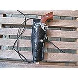"Western Gun Holster - Black - Left Handed - for .22 Caliber single action revolver - Size 6"" - tooled Leather"