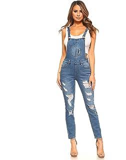 a6d262592c9 Amazon.com  Bulawoo Women Distressed Ripped Skinny Jeans Bib Denim ...