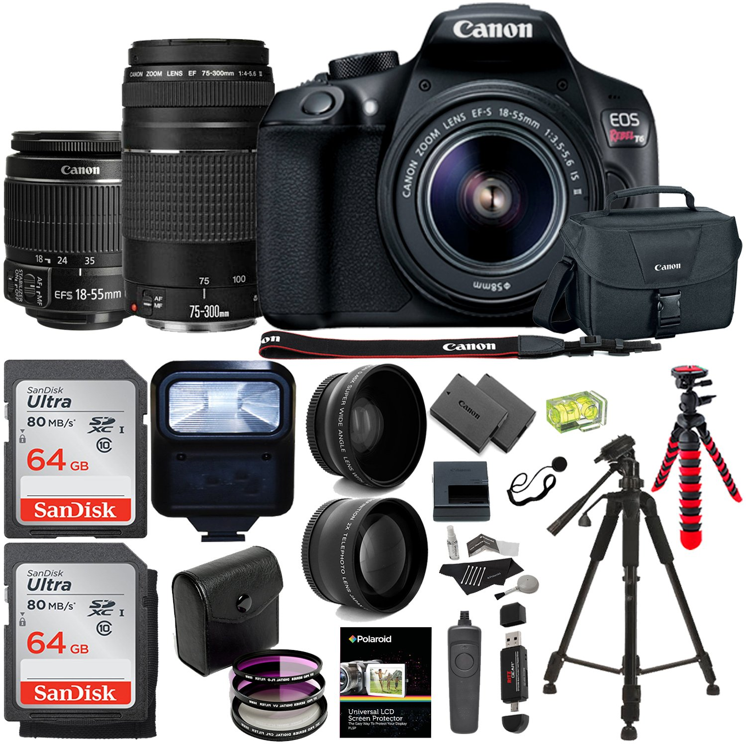 Canon EOS Rebel T6 DSLR Camera Kit, EFS 18-55mm, EF 75-300mm Zoom Lens, 128GB Sandisk Memory Cards, Polaroid .43x Super Wide Angle, 2.2X HD Telephoto Lens, Canon Bag, Tripods & Accessory Bundle by Ritz Camera