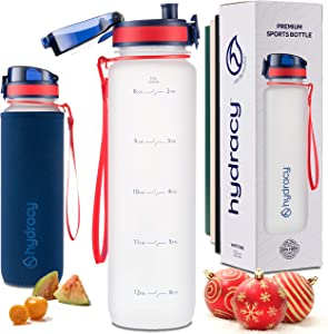 Hydracy Water Bottle with Time Marker - Large 1 Liter 32 Oz BPA Free Water Bottle - Leak Proof & No Sweat Gym Bottle with Fruit Infuser Strainer - Ideal Gift for Fitness or Sports & Outdoors -White R&B