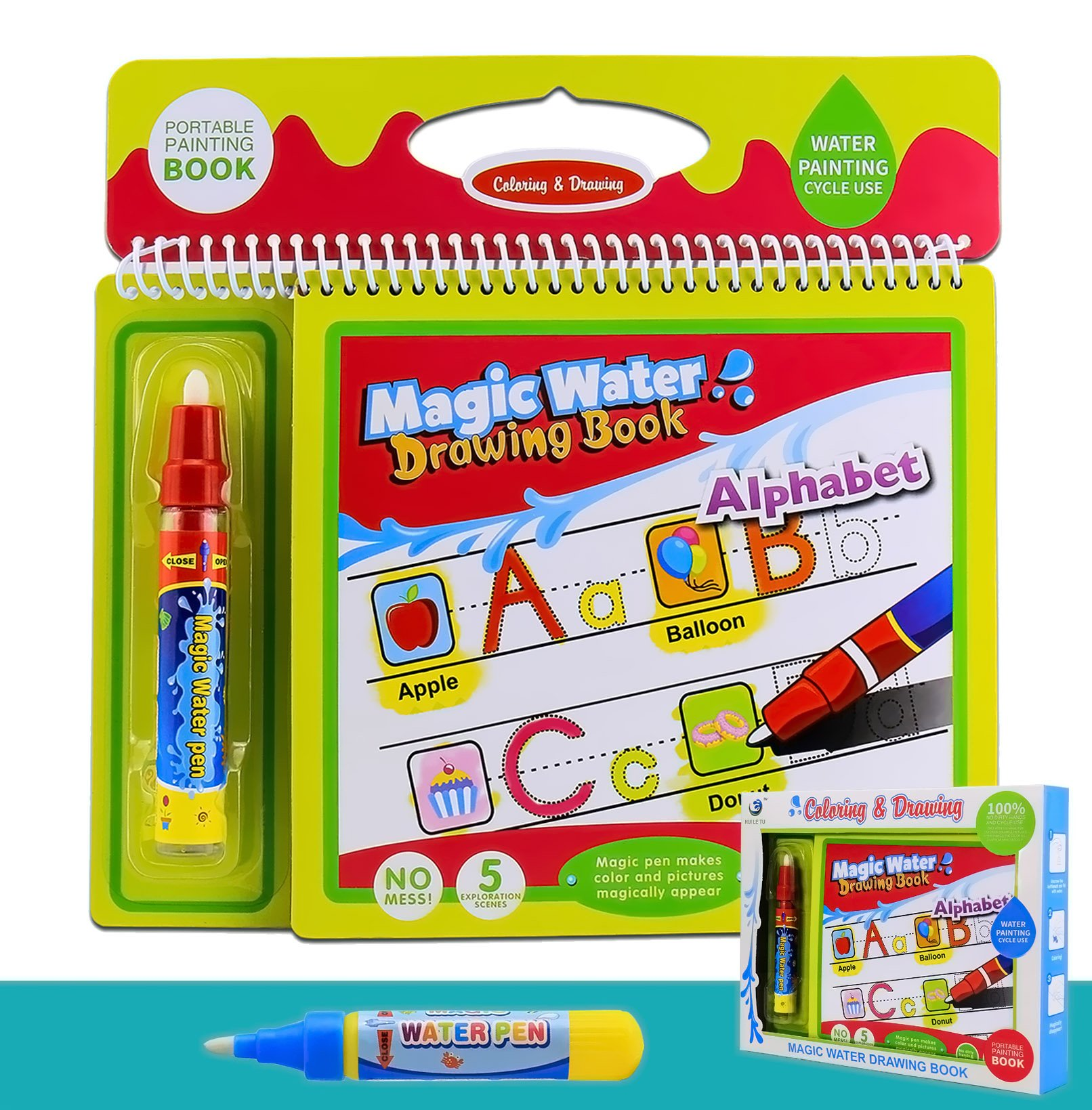 Colouring Doodle Book for Kids Tracing Drawing,Reusable Water painting Kits and 2 Magic Water Pens