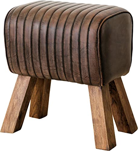 WHW Whole House Worlds Leather Chesterfield Accent Stool