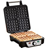 4 Slice Belgian Waffle Maker Grill Iron with Adjustable Temperature Control, Stainless Steel, 1100W by Cooks Professional