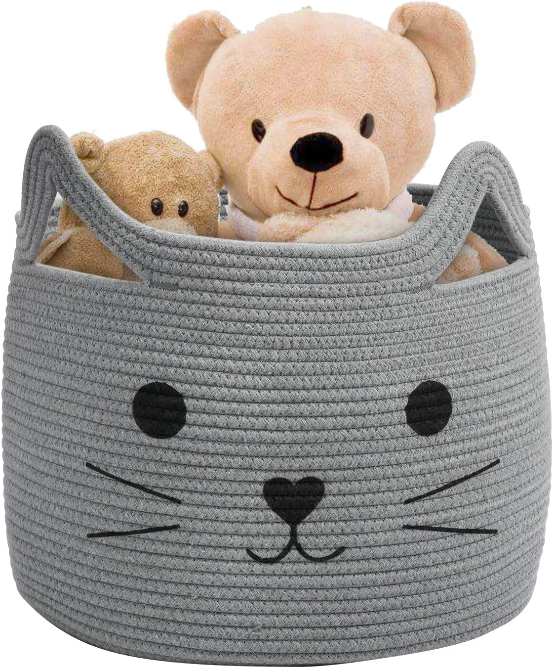 Pet Gift Basket for Cat 15.7 L/×13 W/×13.4 H Dog Towels Large Woven Jute Rope Storage Basket Gifts Clothes Blanket Laundry Basket Organizer for Toys