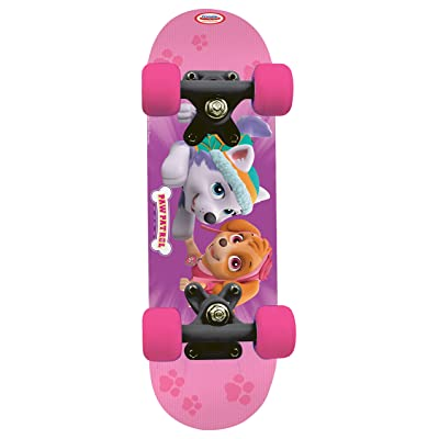 Paw Patrol Kid's 17-Inch Maple Wood Mini Skateboard Cruiser, Black/Pink (OPAW247-F): Toys & Games