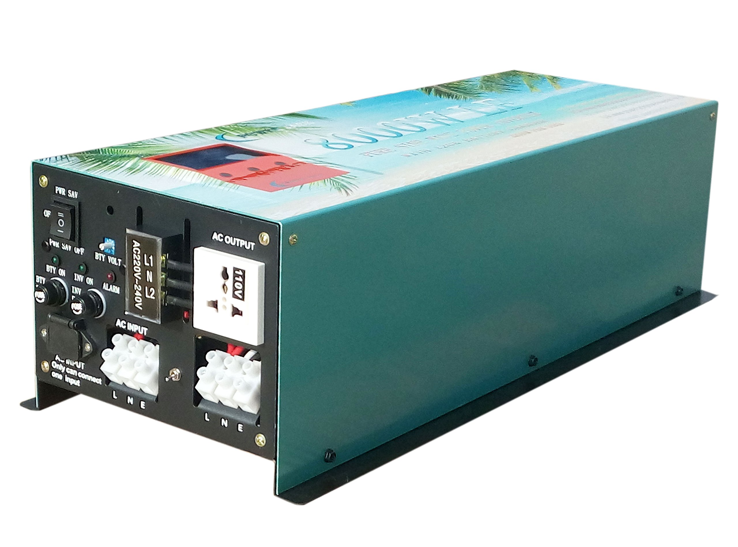 32000W peak 8000W LF Split Phase Pure Sine Wave Power Inverter DC 12V to AC 110V&220V 60Hz, with 120A Battery Charger/UPS/LCD display