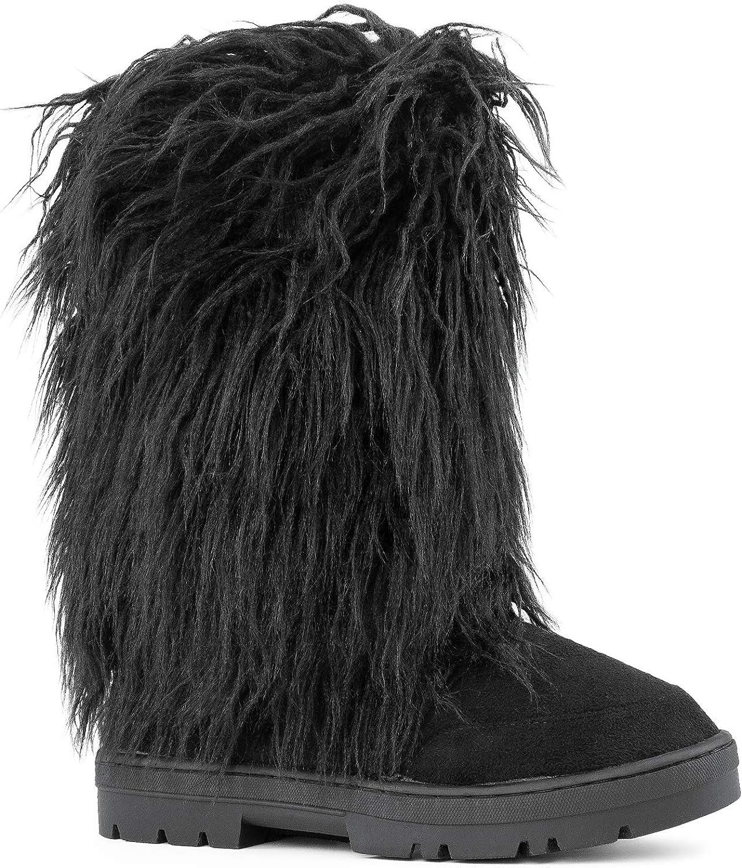 RF ROOM OF FASHION Women's Vegan Faux Long Fur Mid Calf Slip On Round Toe Lug Sole Eskimo Winter Boots