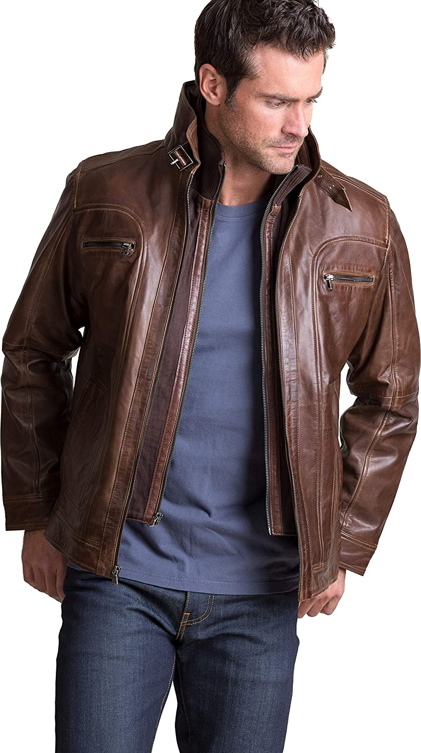 Overland Sheepskin Co Memphis Lambskin Leather Bomber Moto Jacket