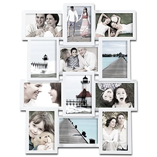 Adeco [PF0174] 12-Opening White Wood Wall Hanging Collage Photo ...