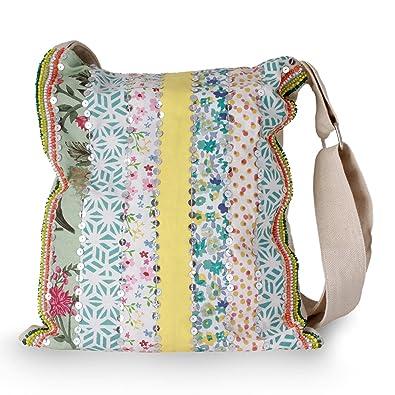 900648d47b2 NOVICA Floral Adjustable Strap Sequin Beaded Cotton Shoulder Bag, Garden  Path   Handbags  Amazon.com