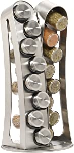 Kamenstein Stainless Steel 16-Jar Revolving Spice Rack with Free Spice Refills for 5 Years