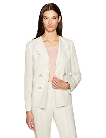 d86f8b30f95f1 Amazon.com  Kasper Women s Double Breasted Linen Jacket  Clothing