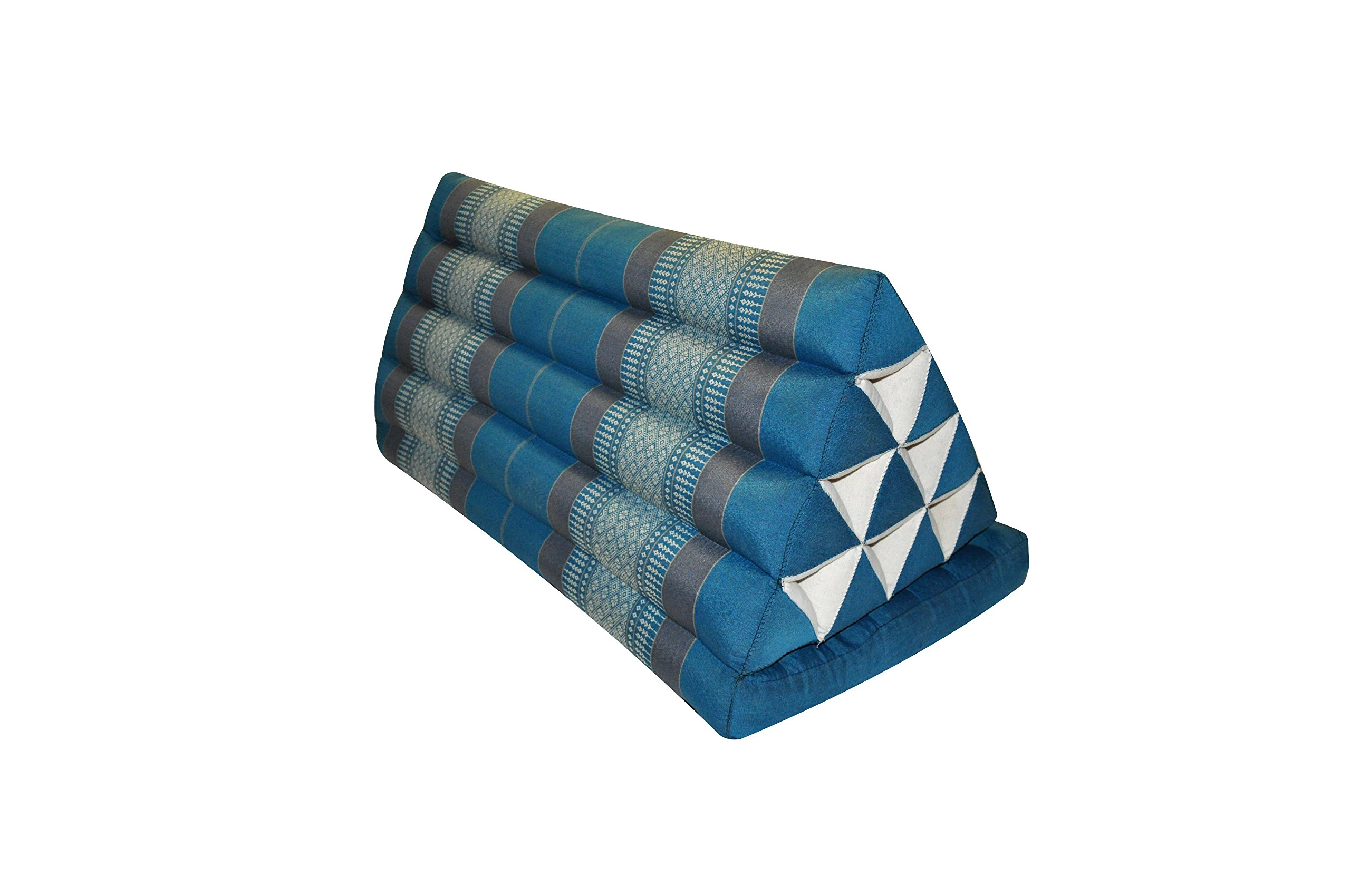 Thai triangle cushion XXL, with 1 folding seat, blue/grey, sofa, relaxation, beach, pool, meditation, yoga, made in Thailand. (82616)
