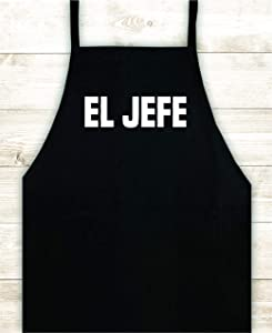 El Jefe Kitchen Apron Custom Design Heat Press Vinyl BBQ Cook Grill Barbeque Chef Funny Gift Cow Steak Men Pig Pork Bacon Party Girls Food Father Gift Birthday Dad The Boss Spanish