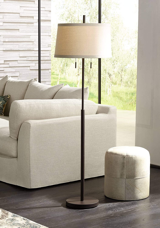 Nayla Modern Floor Lamp Bronze Slender Column Off White Fabric Tapered Drum Shade for Living Room Bedroom – Possini Euro Design