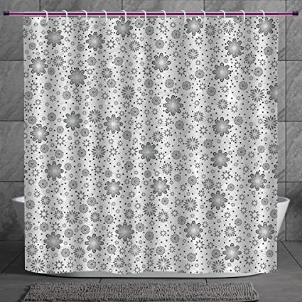 SCOCICI Funky Shower Curtain 20 Grey DecorMix Florals With Rotary Round Rings And