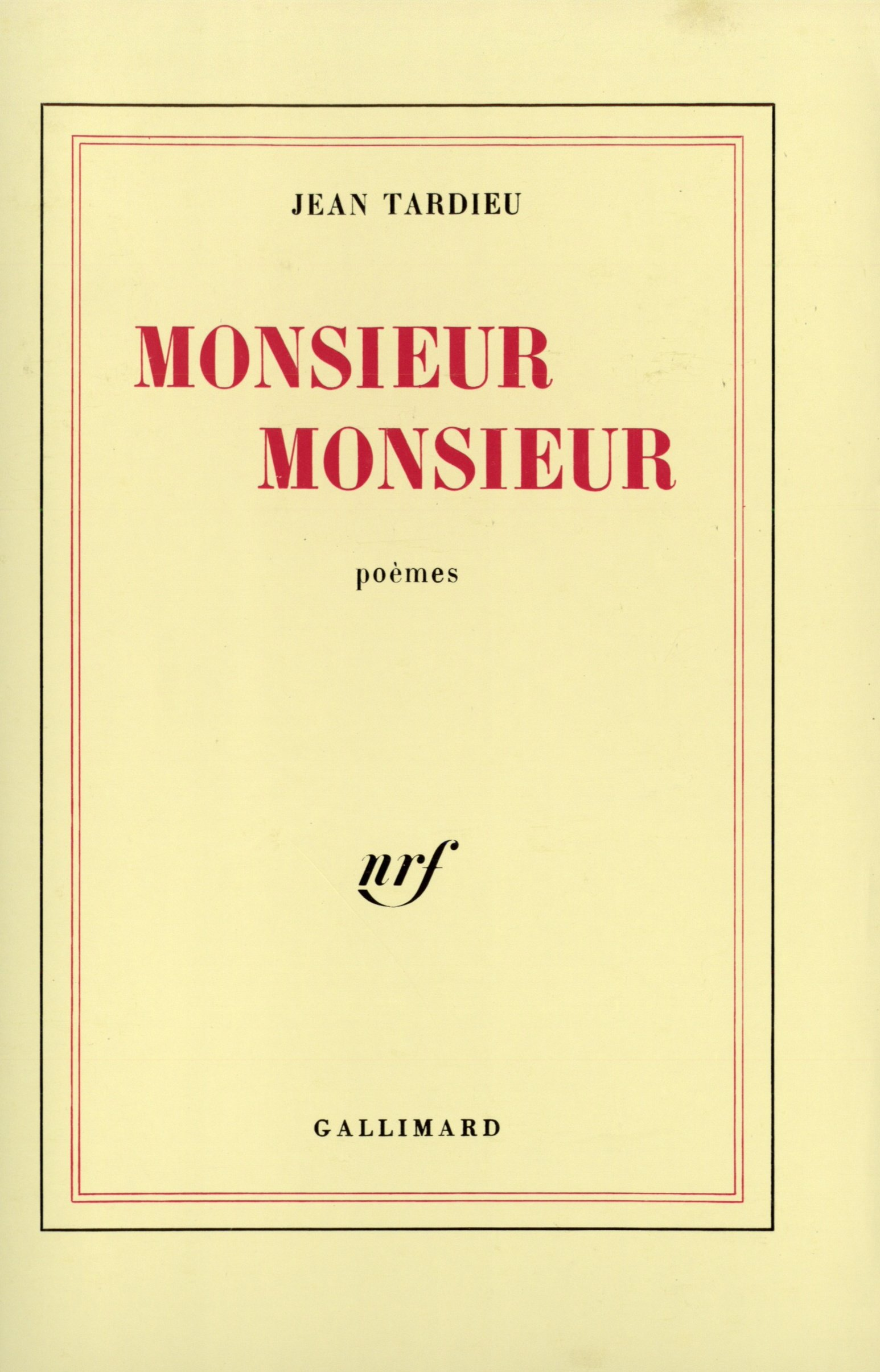 Monsieur Monsieur Blanche Amazones Jean Tardieu Libros