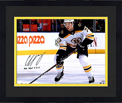 Framed Charlie McAvoy Boston Bruins Autographed 16 quot  x 20 quot  White  Jersey Skating Photograph with de095b0bd