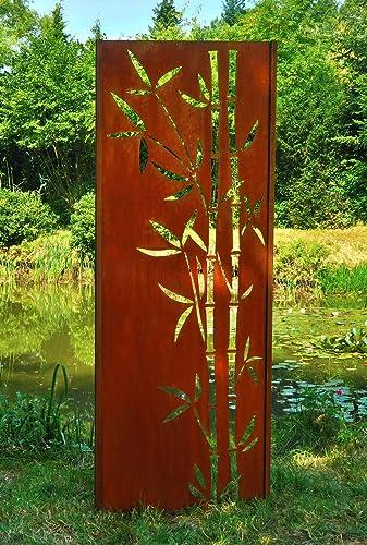Gartenwand Sichtschutz Bambus 2 Rost Stahl 75x195 Cm Amazon De