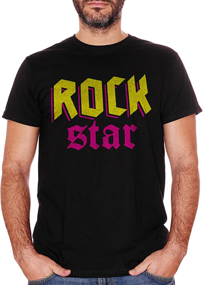 Camiseta Rock Star Music Rock and Roll negra Medium: Amazon.es: Ropa y accesorios