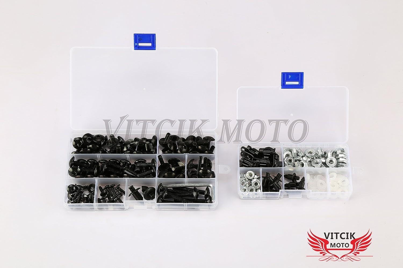 Black /& Silver VITCIK Full Fairings Bolt Screw Kits for Suzuki GSXR1000 K3 2003 2004 GSXR 1000 K3 03 04 Motorcycle Fastener CNC Aluminium Clips