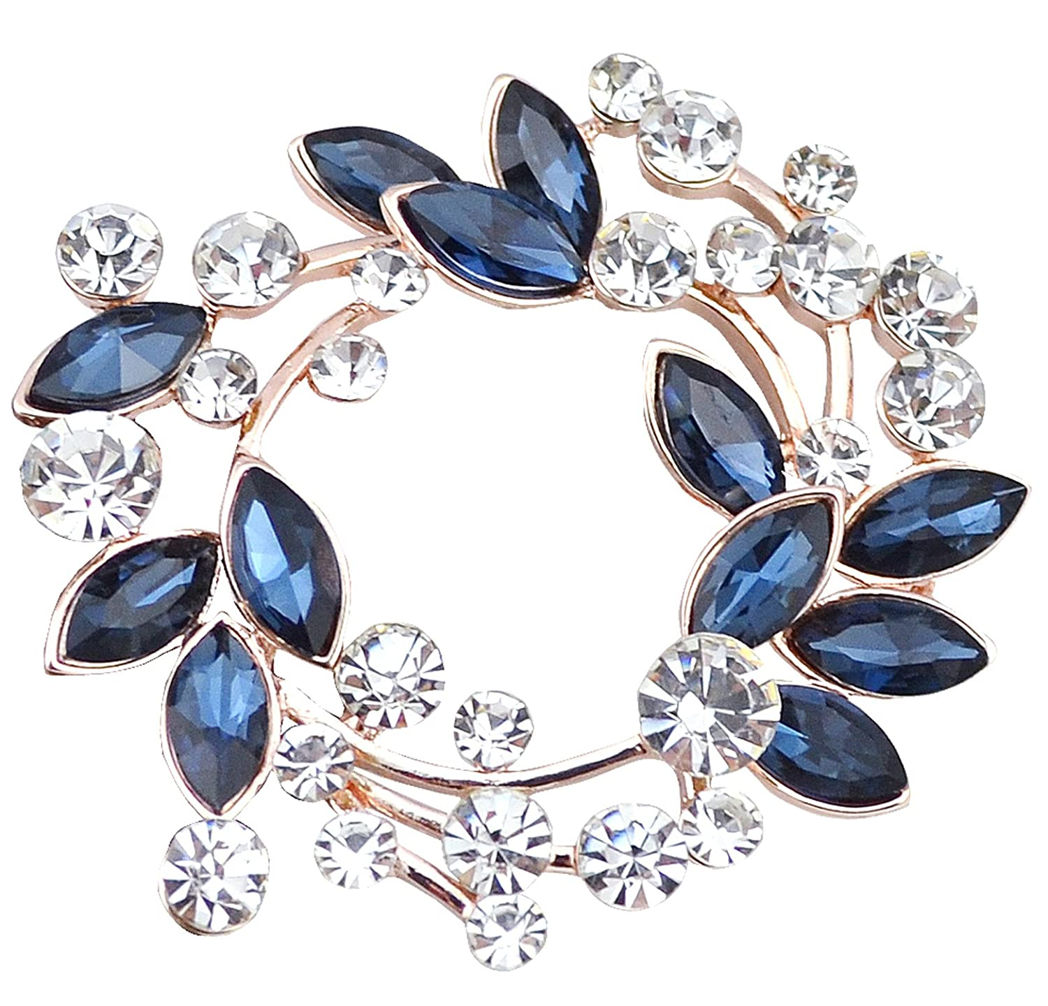 Gyn&Joy Clear Crystal Rhinestone Floral Wreath Pin Brooch BZ005
