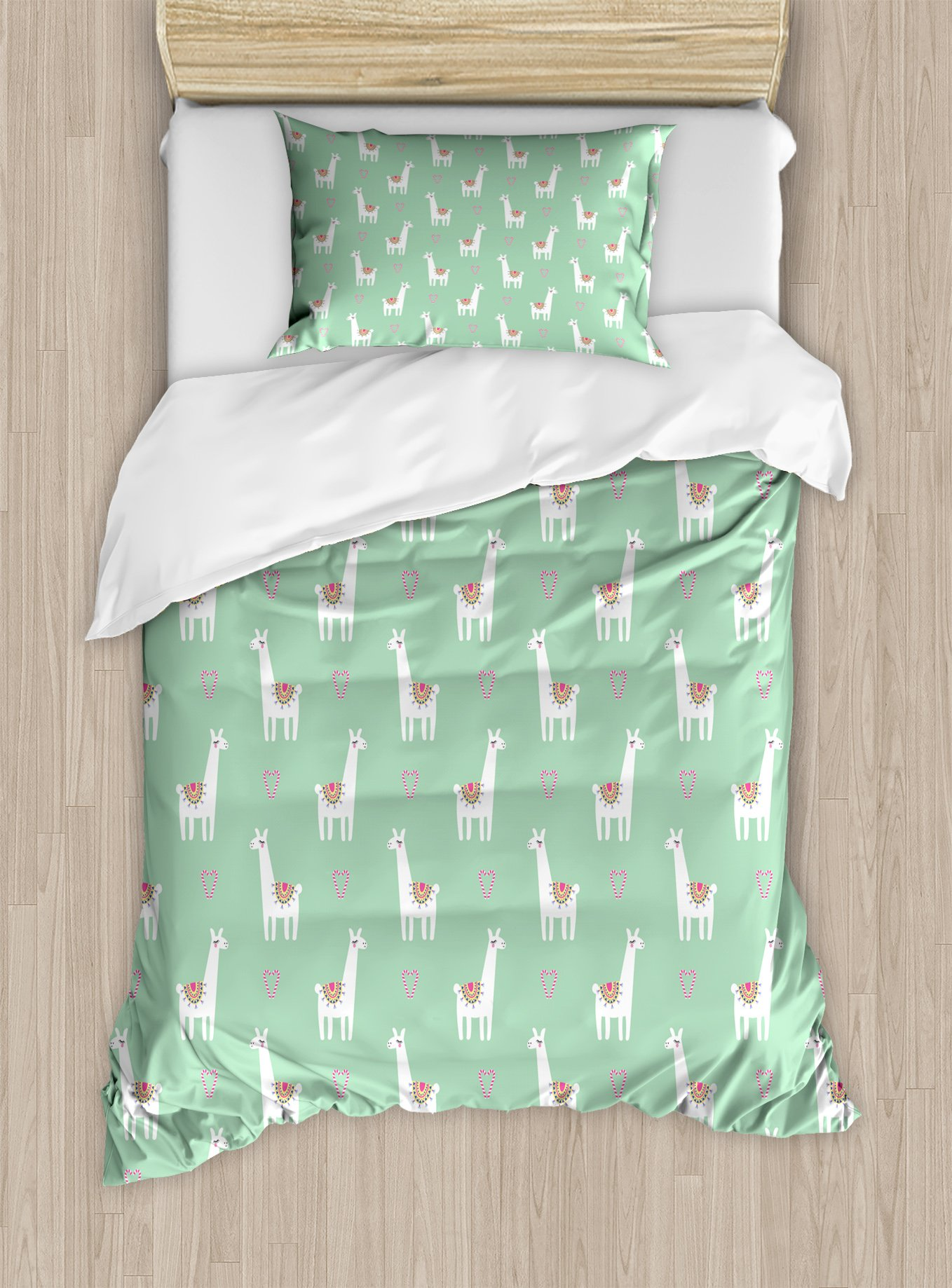 Ambesonne Llama Duvet Cover Set Twin Size, Cute Llama with Candy Cane Hearts Fun Pattern on Mint Green Background, Decorative 2 Piece Bedding Set with 1 Pillow Sham, Mint Green Multicolor
