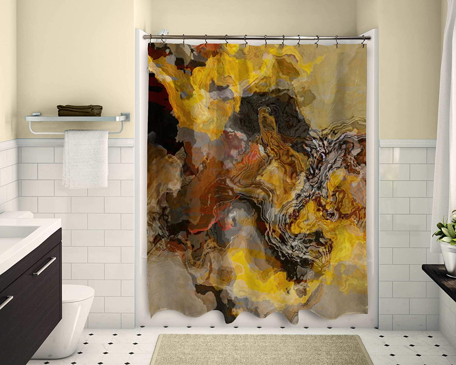 Abstract art shower curtain in Brown and Yellow Summer Oaks