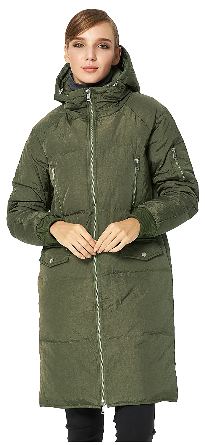 9e043d1a4318 Amazon.com  Orolay Women s Casual Waterproof Down Jacket Hooded Coat  ArmyGreen XS  Clothing
