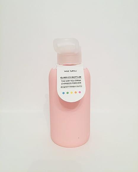 Botella de vidrio con funda de silicona (Rosa)