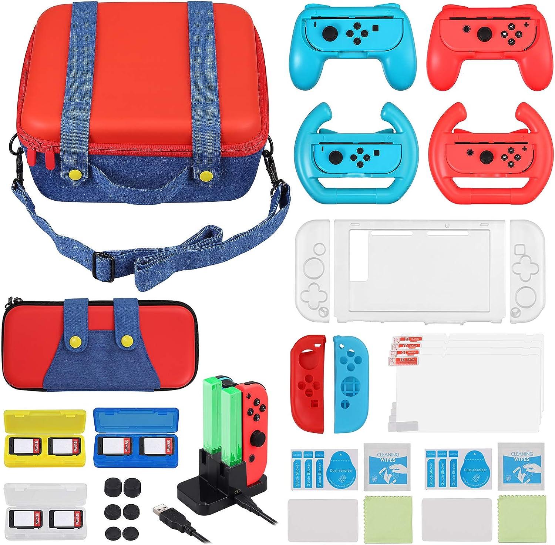 LiNKFOR 19 en 1 Kit de Accesorios para Nintendo Mario Style Bolso de Transporte Gran Capacidad Caja de Tarjetas Agarre Ruedas Base de Carga Funda Silicona Protector de Pantalla